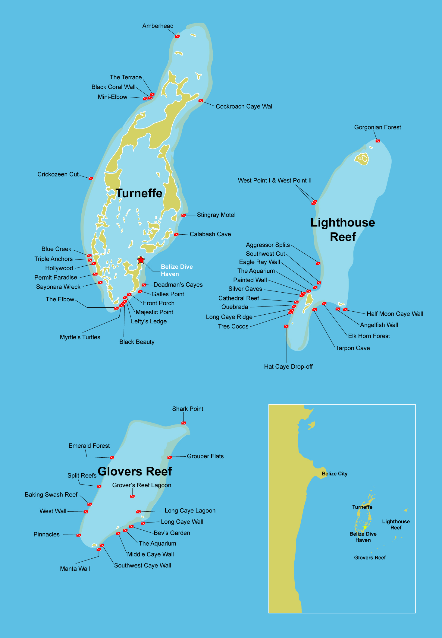 Map of the best dive sites in Belize