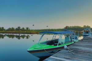 Belize Scuba Dive Boat boat at the resort dock